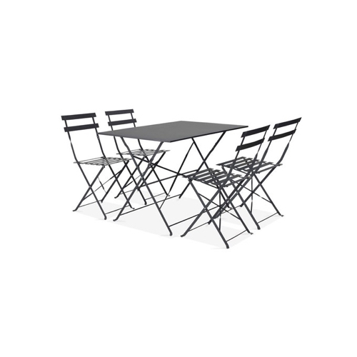 ou trouver salon exterieur pas cher Table 4 personnes + 4 chaises métal