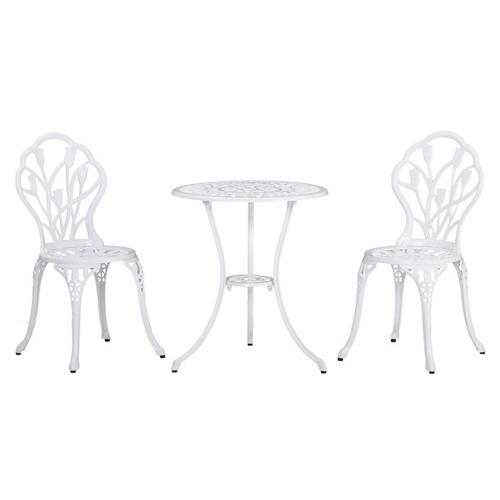ou trouver salon exterieur pas cher chaises et table ronde style classique blanc
