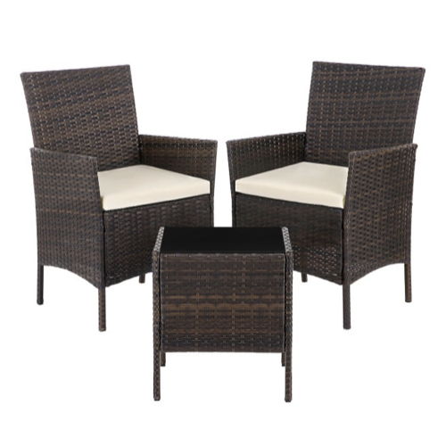 ou trouver salon jardin petit budget résine tressée marron 2 fauteuils et table basse