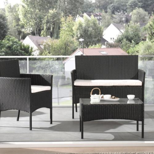 ou trouver salon jardin petit budget 2 fauteuils 1 canapé 1 table basse extérieur résine tressée