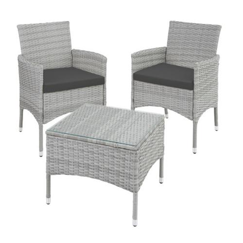 ou trouver salon jardin petit budget 2 fauteuils et table basse grise avec coussin