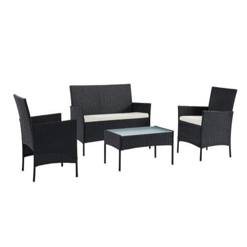 ou trouver salon jardin petit budget 4 places canapé fauteuils table basse en résine