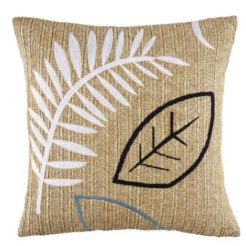 petit balcon cofortable shopping coussin effet jute pour extérieur couleur naturelle imprimé feuille tropicale