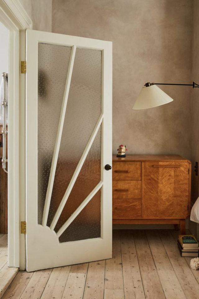 porte vitree interieure moderne exemple déco vintage art déco simple bois verre