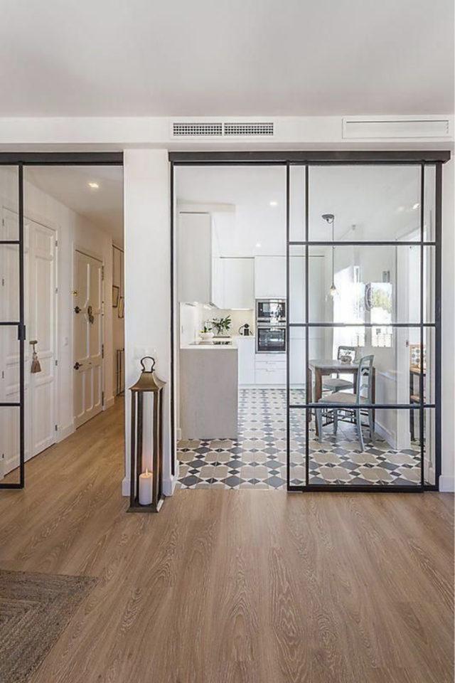 porte vitree interieure moderne exemple grand format coulissant cuisine élégant contemporain chic