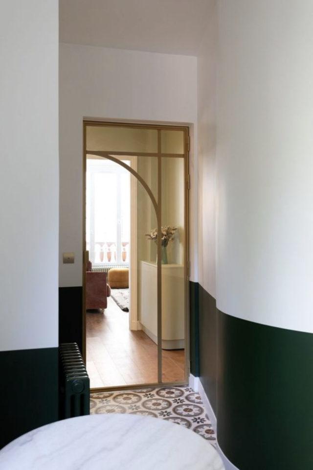 porte vitree interieure moderne exemple bois couloir arrondi rétro classique chic