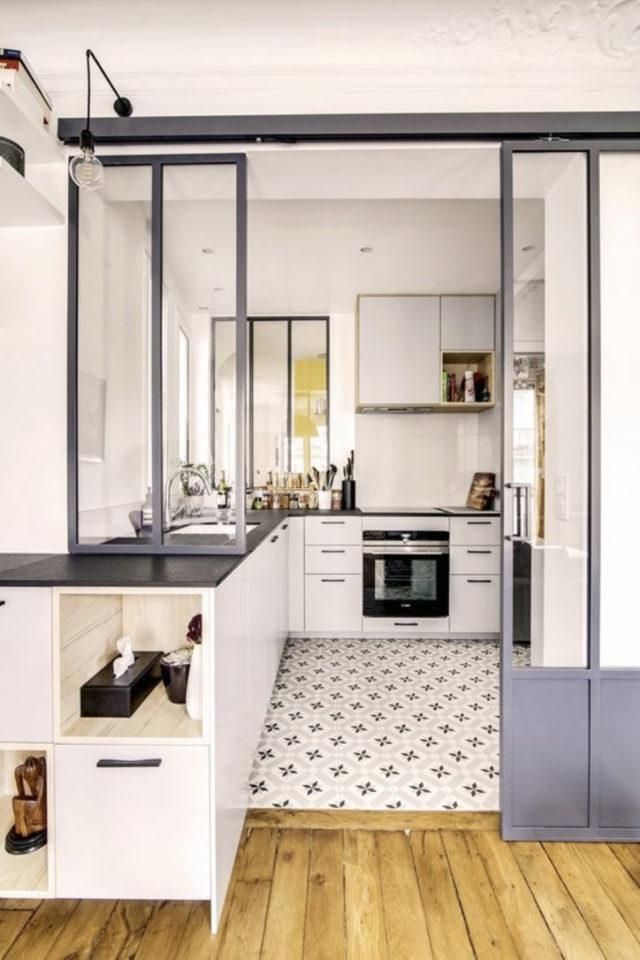 porte vitree interieure moderne exemple décor industriel cuisine séjour séparation verrière