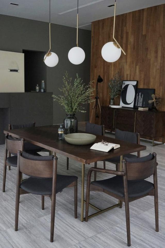 salle a manger decoration masculine exemple revêtement mural lambris sombre et épuré table et chaise très foncées
