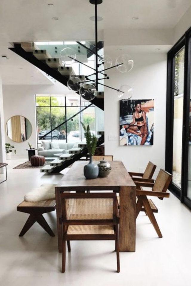 salle a manger decoration masculine exemple ambiance minimaliste épurée espace ouvert design table bois