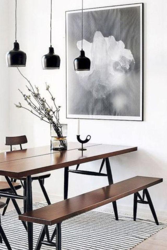 salle a manger decoration masculine exemple bois blanc noir simplicité épuré banc luminaire suspension