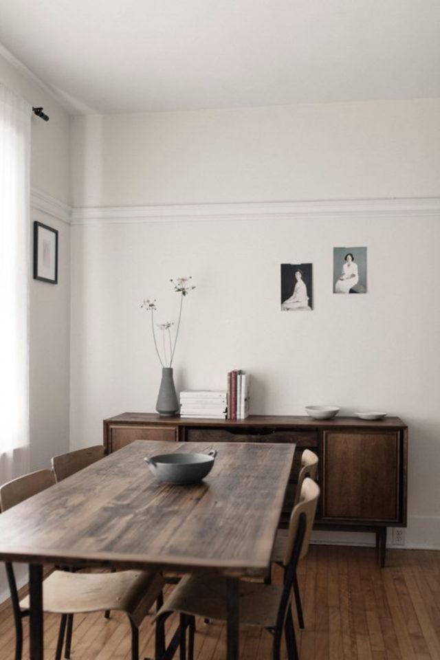 salle a manger decoration masculine exemple espace minimaliste et épuré bois et blanc décoration simple banc