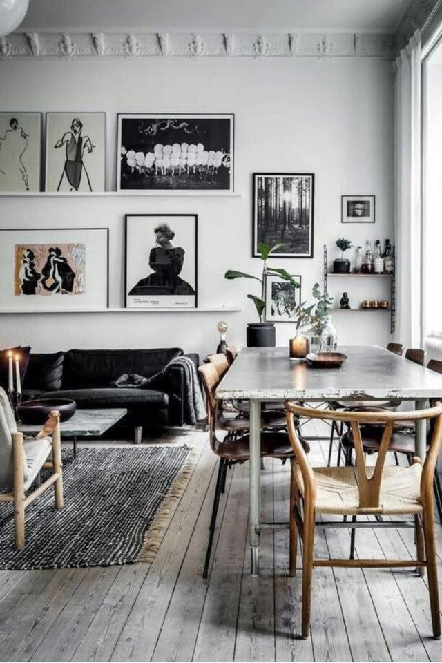 salle a manger decoration masculine exemple intérieur lumineux et ouvert table en marbre chaise en bois clair