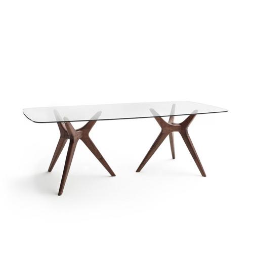 salle a manger masculine meuble deco table en verre piètement bois sombre design 6 à 8 personnes