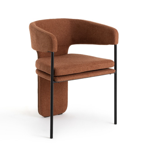 salle a manger masculine meuble deco fauteuil de table design vintage couleur terracotta