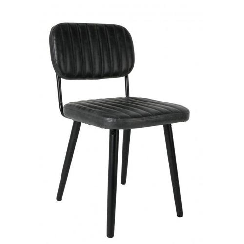 salle a manger masculine meuble deco chaise rétro vintage noire en cuir
