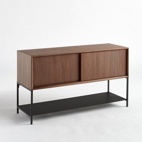 salle a manger masculine meuble deco enfilade bois et métal noir vintage porte coulissante