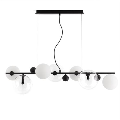 salle a manger masculine meuble deco luminaire suspension noir et opale