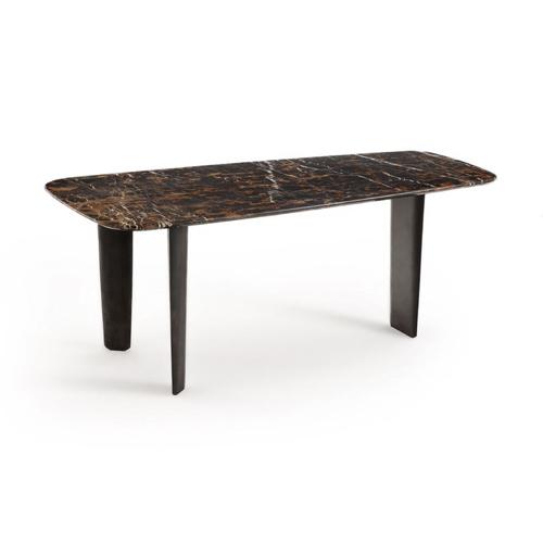 salle a manger masculine meuble deco table en marbre foncée élégante authentique robuste
