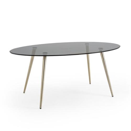 salle a manger masculine meuble deco table en verre fumé style vintage et épuré