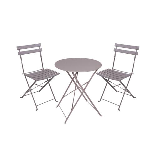 salon de jardin promotions ensemble table et chaises en métal couleur taupe