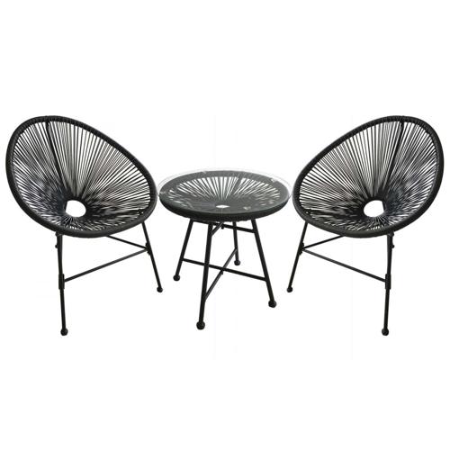 salon de jardin promotions ensemble table basse et 2 fauteuil Acapulco noir