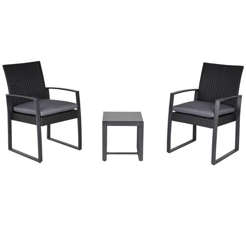 salon de jardin promotions ensemble 2 fauteuils résine noir et table basse