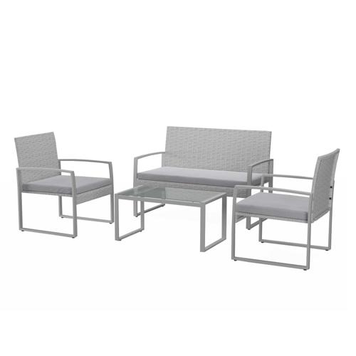 salon de jardin promotions 2 fauteuils canapé extérieur et table résine grise