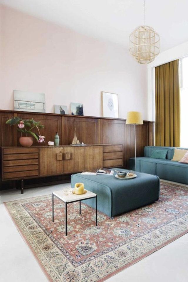 salon sejour vintage exemple soubassement bois enfilade mid century modern