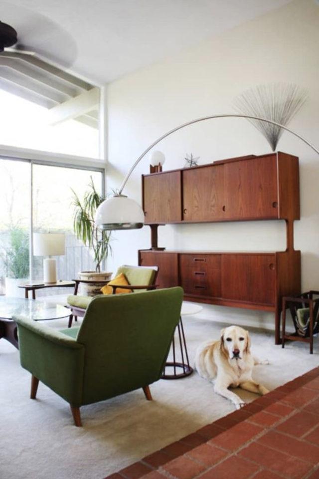 salon sejour vintage exemple grand meuble bibliothèque rétro bois porte coulissante