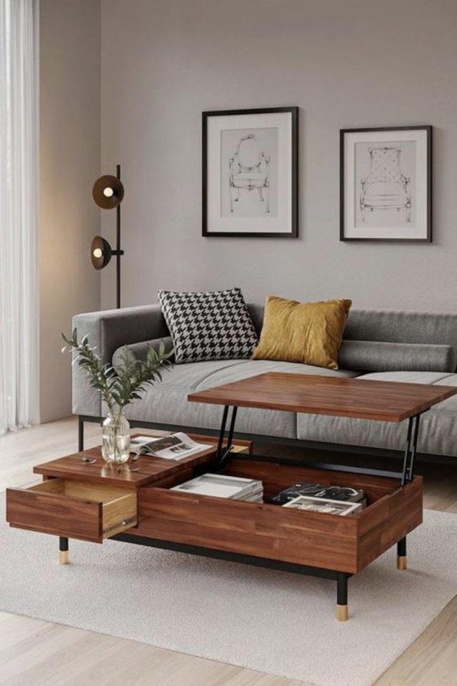 salon sejour vintage exemple table basse bois canapé design gris