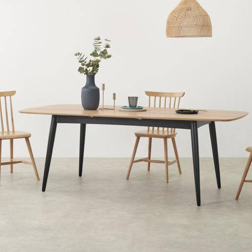 sejour salle a manger table moderne forme ovale pied en bois noir plateau naturel