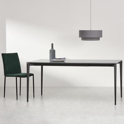 sejour salle a manger table moderne métal et verre sobre