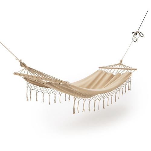 sieste jardin mobilier confortable hamac couleur écru beige style bohème