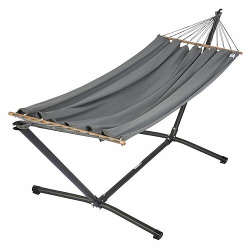 sieste jardin mobilier confortable hamac sur structure couleur gris