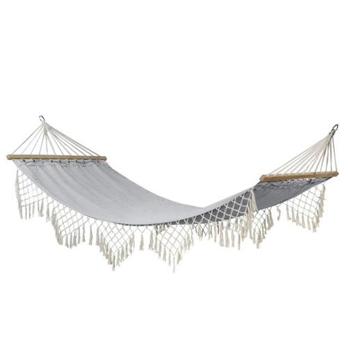 sieste jardin mobilier confortable hamac déco style bohème gris et blanc
