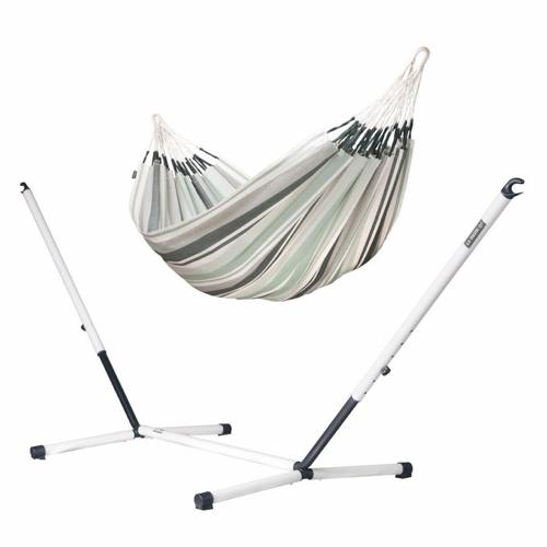 sieste jardin mobilier confortable hamac couleur olive à rayures à suspendre