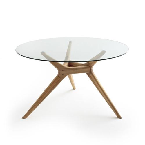 table salle a manger moderne ronde plateau en verre piètement design scandinave slow intérieur bois