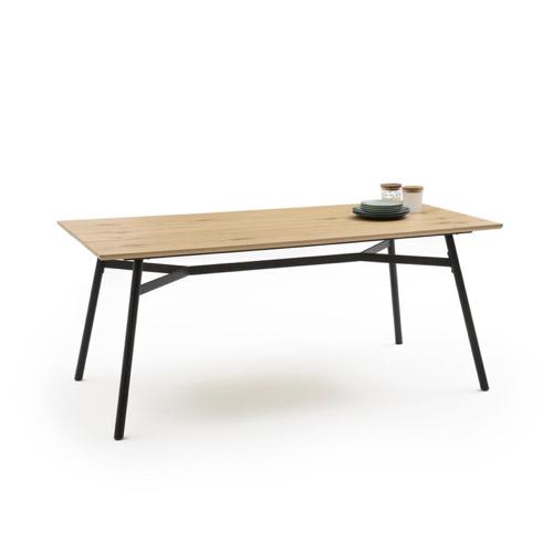 table salle a manger moderne simple et légère piètement métal plateau bois effet planche