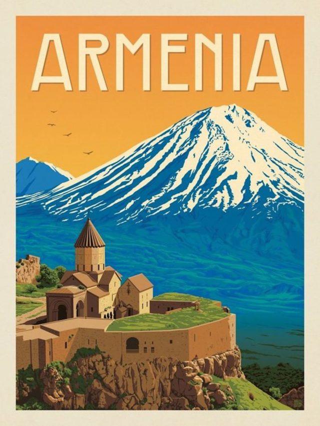 voyage nomade armenie illustration nature montagne monastère