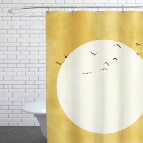 accessoire deco couleur jaune rideau de douche coucher de soleil illustration