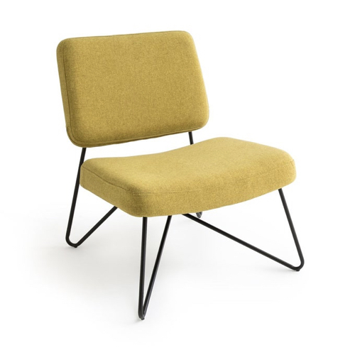 accessoire deco couleur jaune fauteuil rétro piètement métal noir