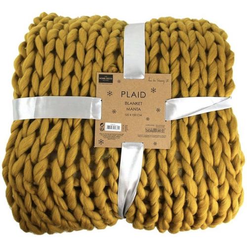 accessoire deco couleur jaune plaid moutarde en grosse liane tricot