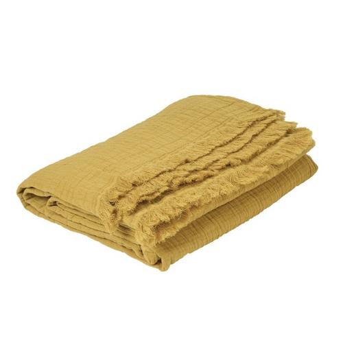 accessoire deco couleur jaune plaid en gaze de coton effet froissé