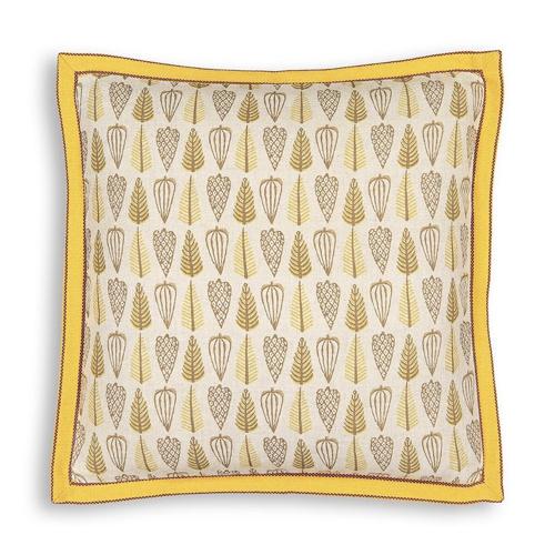 accessoire deco couleur jaune housse de coussin à motif