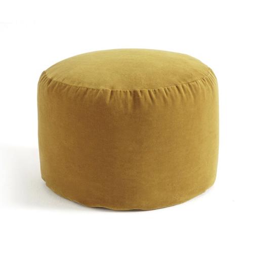 accessoire deco couleur jaune pouf circulaire rond velours moutarde