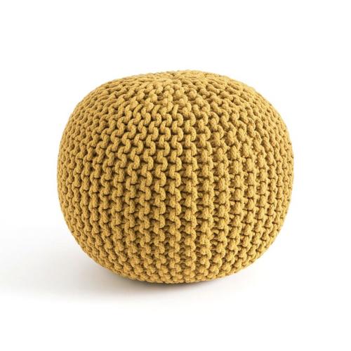 accessoire deco couleur jaune pouf rond tressé