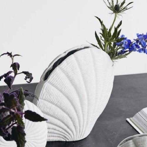 accessoire decoration forme coquillage vase couleur blanc moderne