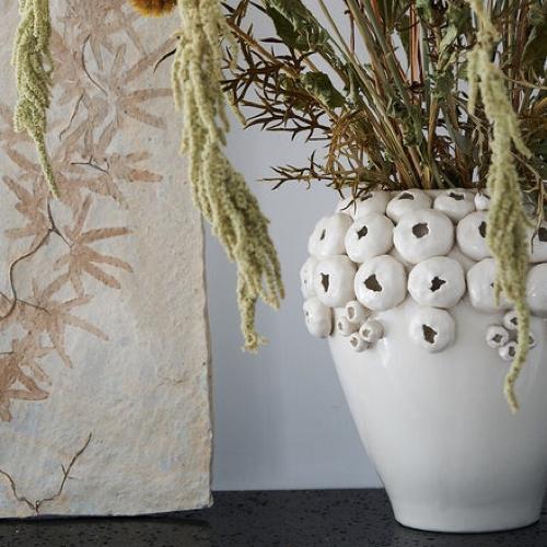 accessoire decoration forme coquillage vase en grés