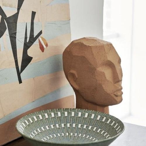 accessoire decoration style neo antique buste statuette argile
