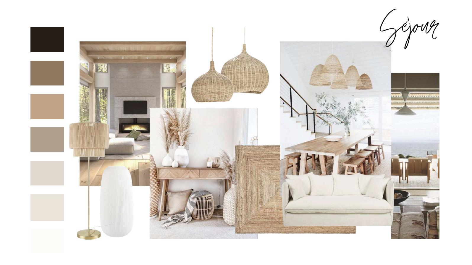 ambiance boheme planche ambiance sejour salon salle à manger coin repas naturel bois moderne